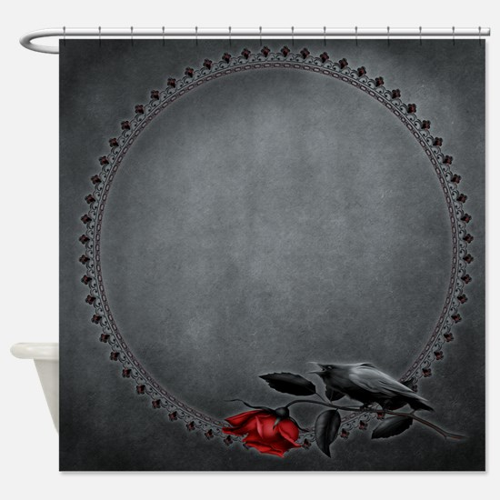 Gothic Crow on Rose Shower Curtain