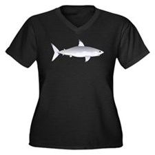 Great White Shark Women's Plus Size V-Neck Dark T-