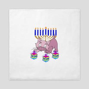 Hanukkah Dreidel Cat Queen Duvet