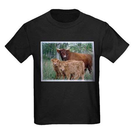 Two highland calves with mama cow Kids Dark T-Shir