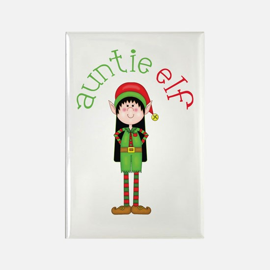 Auntie Christmas Elf Rectangle Magnet
