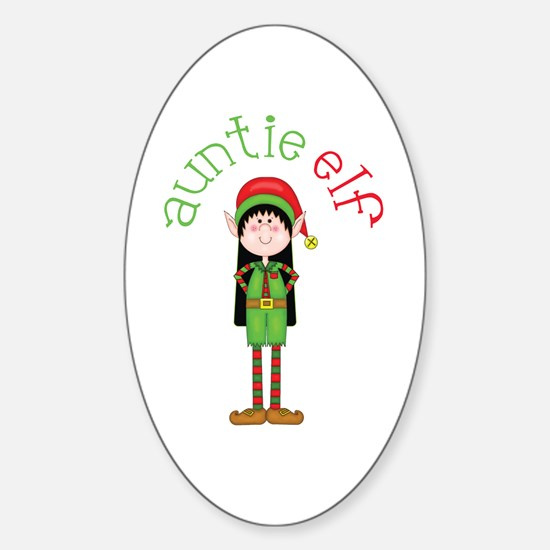 Auntie Christmas Elf Sticker (Oval)