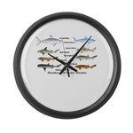 Sharks and More Sharks Montage Large Wall Clock