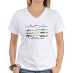 Sharks and More Sharks Montage Women's V-Neck T-Sh