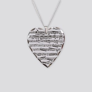 Music notes Necklace Heart Charm