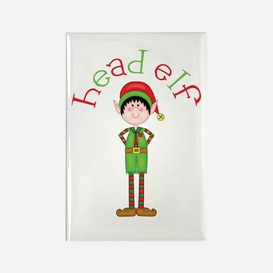 Head Christmas Elf Rectangle Magnet