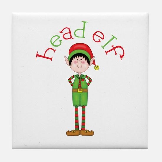 Head Christmas Elf Tile Coaster