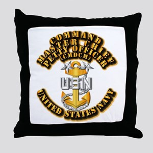 Navy - Rank - CMDCM Throw Pillow