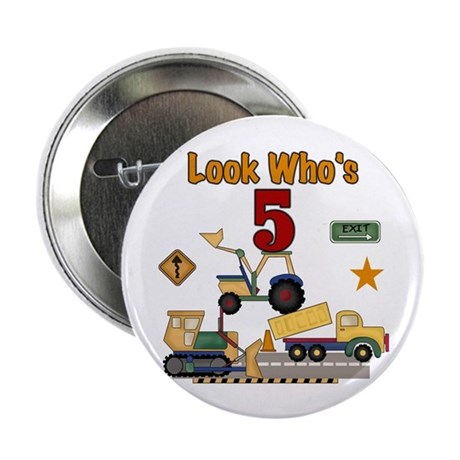 Construction 5th Birthday Button