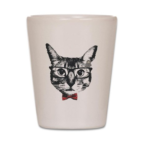 Cat with glasses Shot Glass