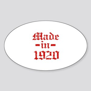 Made In 1920 Sticker (Oval)