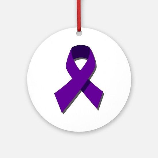 Purple Ribbon Ornament (Round)