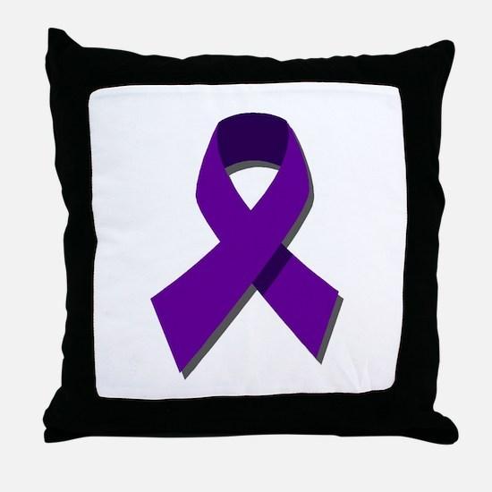 Purple Ribbon Throw Pillow