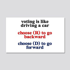 Democrat Voting/Driving 20x12 Wall Decal