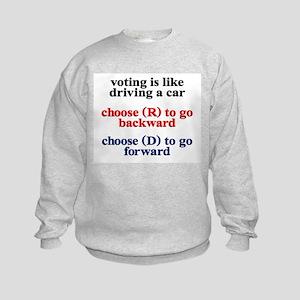 Democrat Voting/Driving Kids Sweatshirt
