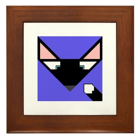 Cubist Black Fox Head and Tail Framed Tile