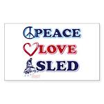 Peace-Love-Sled Sticker (Rectangle 10 pk)