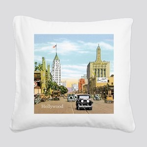 Vintage Hollywood Square Canvas Pillow