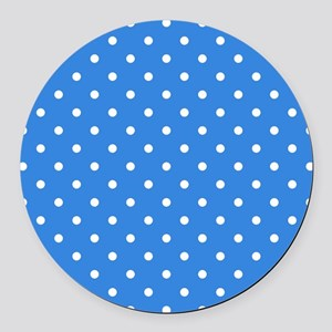 Blue Polka Dot. Round Car Magnet