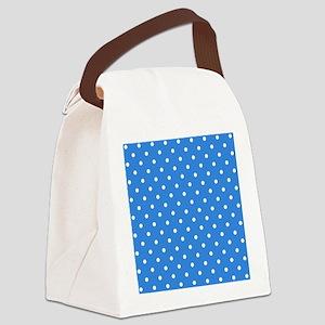Blue Polka Dot. Canvas Lunch Bag