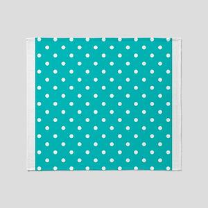 Teal dot pattern. Throw Blanket