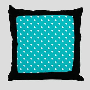 Teal dot pattern. Throw Pillow