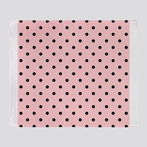 Pink and Black Dot Patttern. Throw Blanket