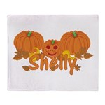 Halloween Pumpkin Shelly Throw Blanket