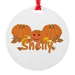 Halloween Pumpkin Shelly Round Ornament