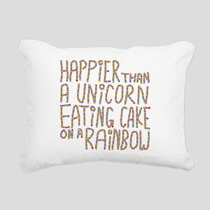 Happier Than A Unicorn... Rectangular Canvas Pillo