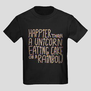Happier Than A Unicorn... Kids Dark T-Shirt