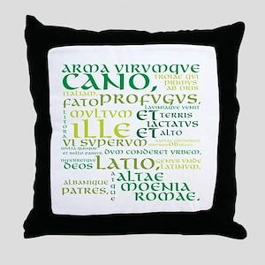 Arma Virumque Cano Green Throw Pillow