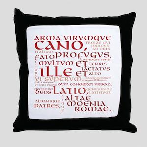 Arma Virumque Cano Red Throw Pillow