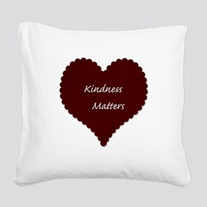 Kindness Matters Heart Square Canvas Pillow