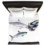 Two White Sharks ambush Tuna King Duvet
