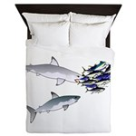Two White Sharks ambush Tuna Queen Duvet