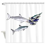 Two White Sharks ambush Tuna Shower Curtain