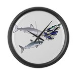 Two White Sharks ambush Tuna Large Wall Clock