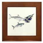 Two White Sharks ambush Tuna Framed Tile