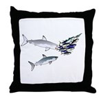 Two White Sharks ambush Tuna Throw Pillow