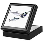 Two White Sharks ambush Tuna Keepsake Box