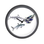 Two White Sharks ambush Tuna Wall Clock