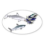 Two White Sharks ambush Tuna Sticker (Oval 10 pk)