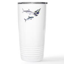 Two White Sharks ambush Tuna Stainless Steel Trave