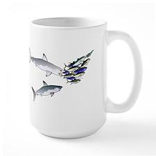 Two White Sharks ambush Tuna Large Mug