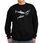 Two White Sharks ambush Tuna Sweatshirt (dark)
