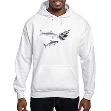 Two White Sharks ambush Tuna Hooded Sweatshirt