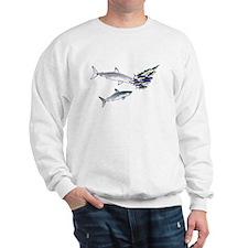 Two White Sharks ambush Tuna Sweatshirt