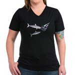 Two White Sharks ambush Tuna Women's V-Neck Dark T