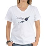 Two White Sharks ambush Tuna Women's V-Neck T-Shir